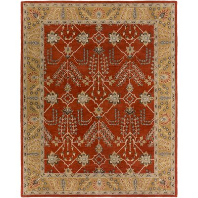 Henriksen Hand-Crafted Bright Red/Metallic Gold Area Rug Rug Size: Rectangle 4 x 6