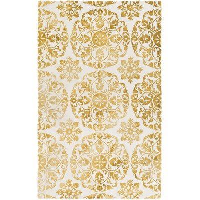 Dilworth Hand-Tufted Yellow/Off-White Area Rug Rug Size: Round 6