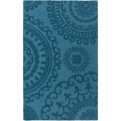 Allegan Handmade Teal Area Rug Rug Size: Rectangle 4 x 6