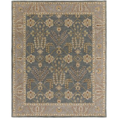 Middleton Kelly Hand-Crafted Slate/Beige Area Rug Rug Size: 5 x 8