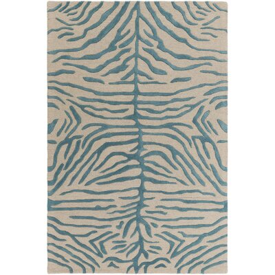 Langner Handmade Teal/Beige Area Rug Rug Size: Rectangle 5 x 8