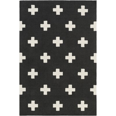 Litten Hand-Crafted Black/White Area Rug Rug Size: Rectangle 76 x 96
