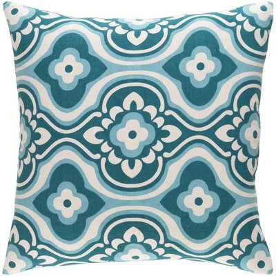 Trudy Blossom Cotton Throw Pillow Cover Color: Teal/ White
