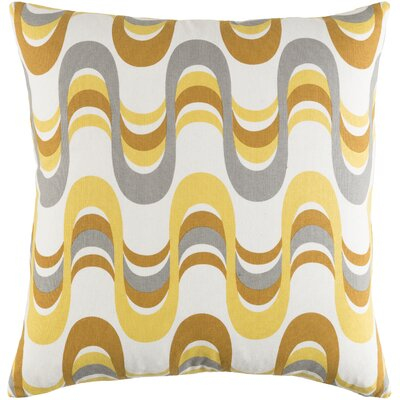 Arsdale Square Graphic Print Cotton Throw Pillow Color: Lemon Yellow/ Gray Multi