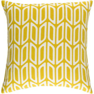 Arsdale Contemporary Square Cotton Throw Pillow Color: Yellow/ White