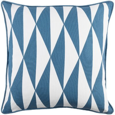 Antonia Geometric Woven Cotton Throw Pillow Color: Blue/ White