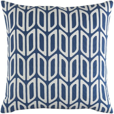 Arsdale Contemporary Square Cotton Throw Pillow Color: Navy/ White