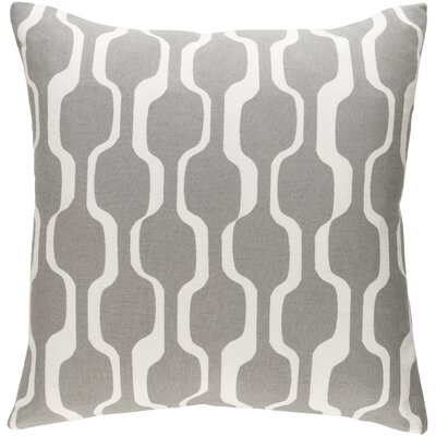 Arsdale Graphic Print Woven Cotton Throw Pillow Color: Gray/ White