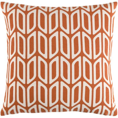 Arsdale Contemporary Square Cotton Throw Pillow Color: Orange/ White