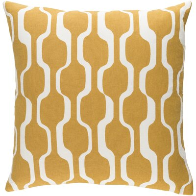 Arsdale Graphic Print Square Cotton Throw Pillow Color: Mustard Yellow/ White