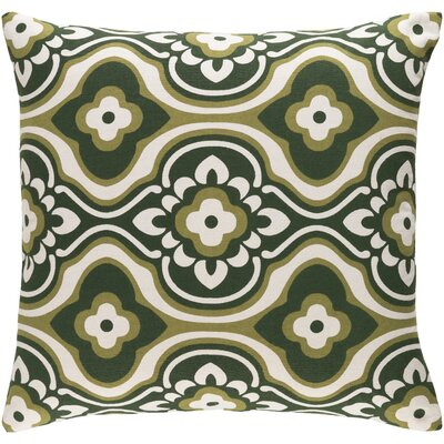 Trudy Blossom Cotton Throw Pillow Cover Color: Olive/ White