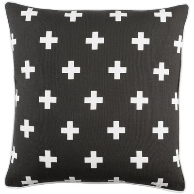 Antonia Cross Cotton Throw Pillow Cover Color: Black/ White