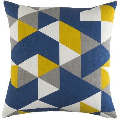 Arsdale Geometry Cotton Throw Pillow Color: Blue/ Yellow/ Gray