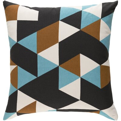 Arsdale Geometric Cotton Throw Pillow Color: Teal/ Brown/ Black