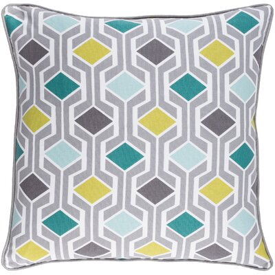 Antonia Contemporary Geometric Woven Cotton Throw Pillow Color: Teal Multi