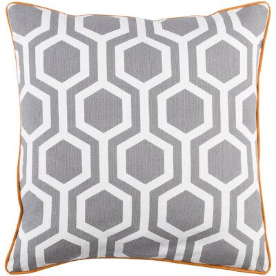 Antonia Geometric Square Woven Cotton Throw Pillow Cover Color: Gray/ White
