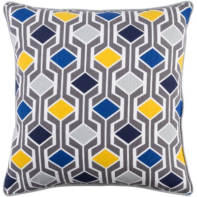 Antonia Geometric Square Woven Cotton Throw Pillow Color: Blue Multi