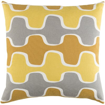 Arsdale Graphic Print Cotton Throw Pillow Color: Lemon Yellow/ Mustard Yellow/ Gray
