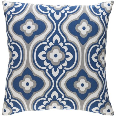 Trudy Blossom Cotton Throw Pillow Color: Navy/ White