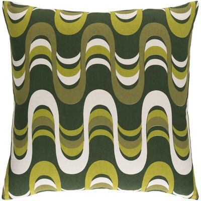 Arsdale Wave Cotton Throw Pillow Color: Olive Multi