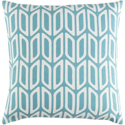 Arsdale Contemporary Square Cotton Throw Pillow Color: Teal/ White