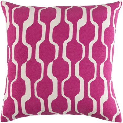 Trudy Cotton Throw Pillow Color: Hot Pink/ White