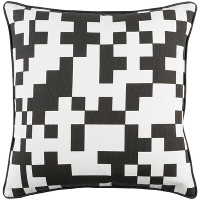 Antonia Contemporary Puzzle Cotton Throw Pillow Cover Color: White/ Black