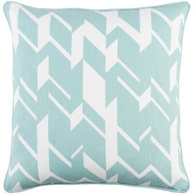 Antonia Square Cotton Throw Pillow Cover Color: Mint/ White