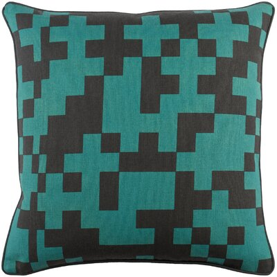 Antonia Contemporary Cotton Throw Pillow Color: Teal/ Black