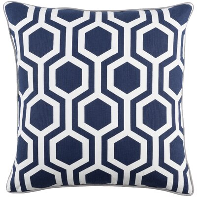 Antonia Geometric Square Woven Cotton Throw Pillow Cover Color: Navy/ White