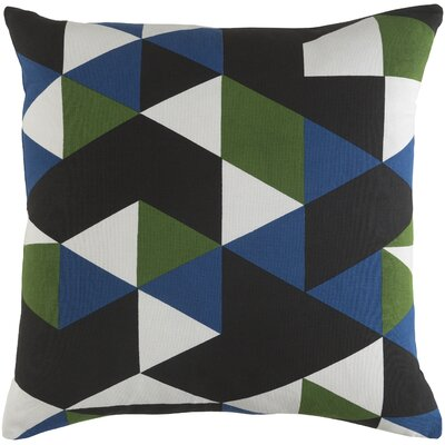 Arsdale Geometry Cotton Throw Pillow Cover Color: Blue/ Green/ Black