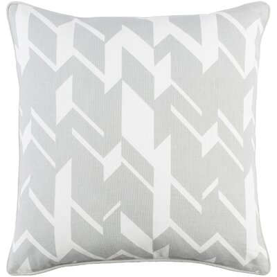 Antonia Geometric Square Cotton Throw Pillow Color: Gray/ White