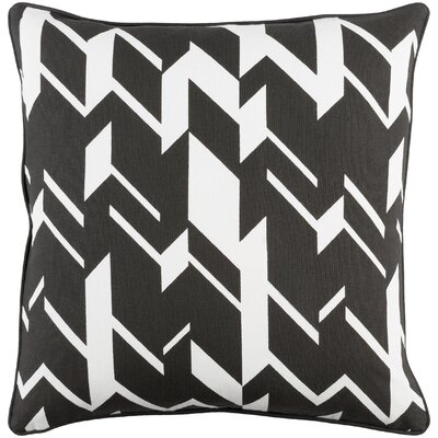 Antonia Square Cotton Throw Pillow Cover Color: Black/ Ivory