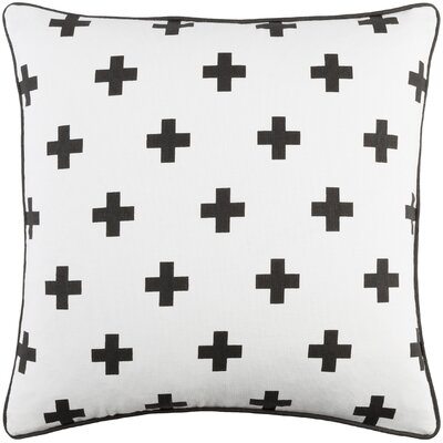 Antonia Cross Cotton Throw Pillow Color: White/ Black