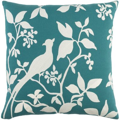 Kingdom Birch Cotton Throw Pillow Cover Color: Teal/ White