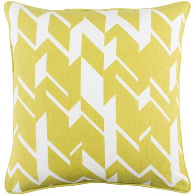 Antonia Geometric Square Cotton Throw Pillow Color: Lime/ White