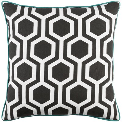 Antonia Geometric Square Woven Cotton Throw Pillow Cover Color: Black/ White