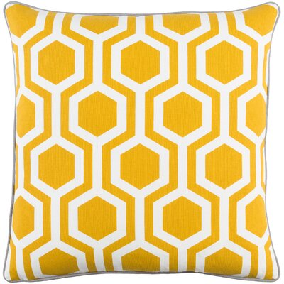 Antonia Square Woven Cotton Throw Pillow Color: Dark Yellow/ White