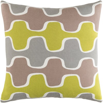 Trudy Cotton Throw Pillow Color: Lime/ Gray/ Taupe