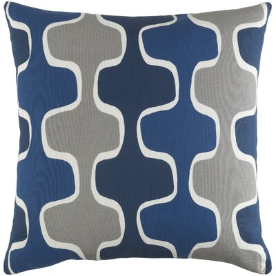 Arsdale Square Cotton Throw Pillow Color: Navy/ Cobalt Blue/ Gray