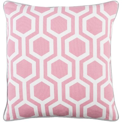 Antonia Square Woven Cotton Throw Pillow Color: Pink/ White