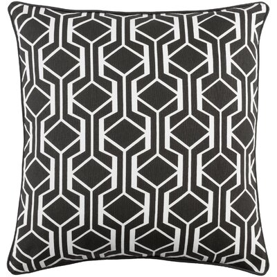 Antonia Contemporary Geometric Woven Cotton Throw Pillow Color: Black/ White