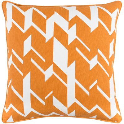 Antonia Geometric Square Cotton Throw Pillow Color: Orange/ White