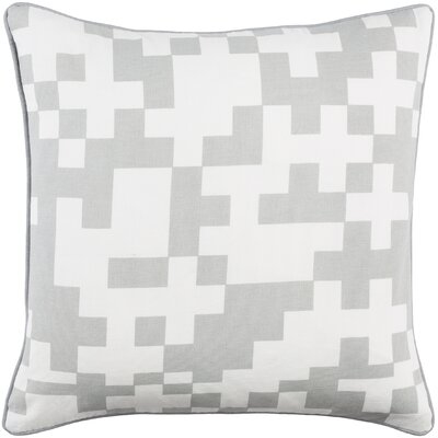 Antonia Puzzle Woven Cotton Throw Pillow Color: Gray/ White