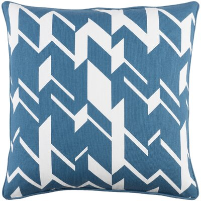 Antonia Square Cotton Throw Pillow Cover Color: Blue/ Ivory
