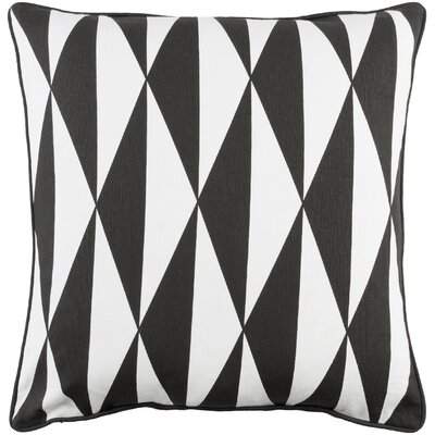 Antonia Modern Square Cotton Throw Pillow Cover Color: Black/ White