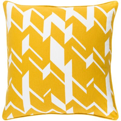 Antonia Geometric Square Cotton Throw Pillow Color: Dark Yellow/ White