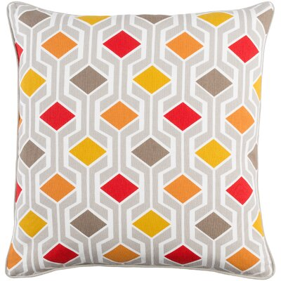 Antonia Contemporary Geometric Woven Cotton Throw Pillow Color: Red Multi