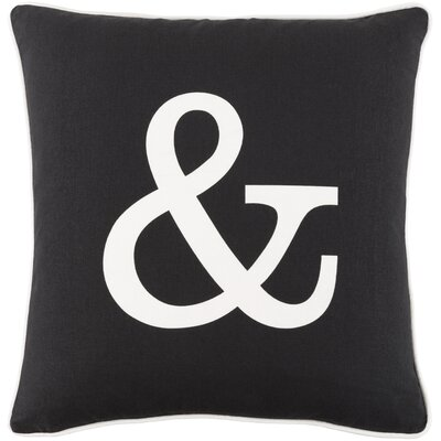 Carnell Ampersand Cotton Throw Pillow Cover Color: Black/ White