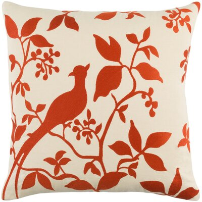 Kerwin Cotton Throw Pillow Color: Red/ Beige